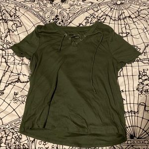 Lace up green t-shirt